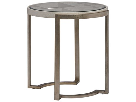 Carson Ensemble Clear / Cashmere Silver 29'' Wide Round End Table CARCEN04