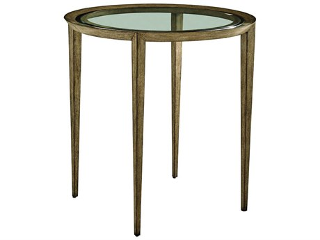 Carson Harmony Clear / Taupe / Grey 27'' Wide Round End Table CARCHA042