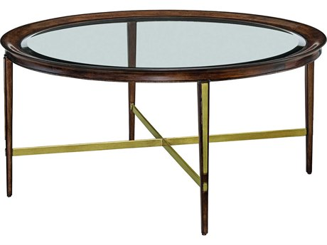 Carson Lyric Clear / Brown 42'' Wide Round Coffee Table CARCLY001