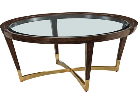 Carson Lyric Clear / Brown 48'' Wide Round Coffee Table