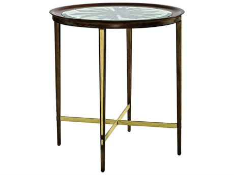 Carson Lyric Deco Glass / Brown 28'' Wide Round End Table CARCLY041