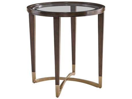 Carson Lyric Clear / Brown 27'' Wide Round End Table CARCLY042