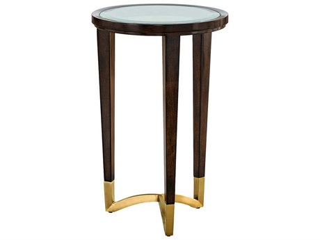 Carson Lyric Clear / Brown 16'' Wide Round End Table CARCLY302