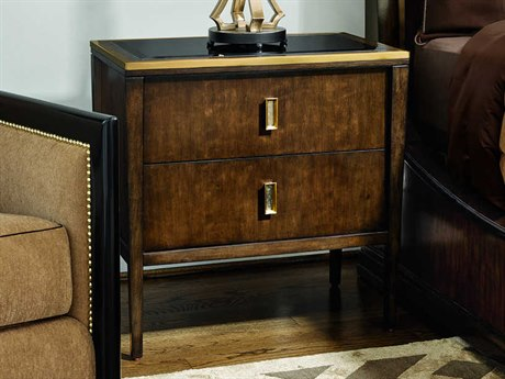 Carson Lyric Black Glass / Brown Two-Drawer Nightstand CARCLY12