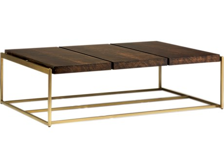 Carson Melody Brown / Satin Brass 60'' Wide Rectangular Coffee Table CARCME01