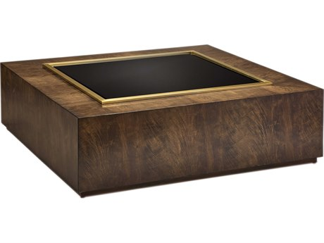 Carson Melody Black Glass / Brown 54'' Wide Square Coffee Table CARCME02