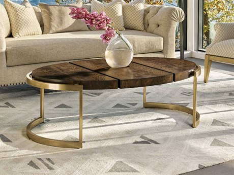 Carson Melody Brown / Satin Brass 56'' Wide Oval Coffee Table CARCME03