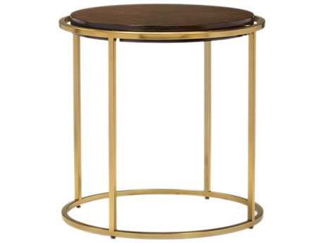 Carson Melody Brown / Satin Brass 28'' Wide Round End Table CARCME04