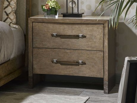 Carson Tempo Polished Silver Travertine Marble / Taupe Two-Drawer Nightstand