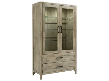 Palliser Case Goods Casablanca Weathered Two-Drawer / Two-Door Curio Cabinet with Clear Glass / Antique Black Hardware CX372190