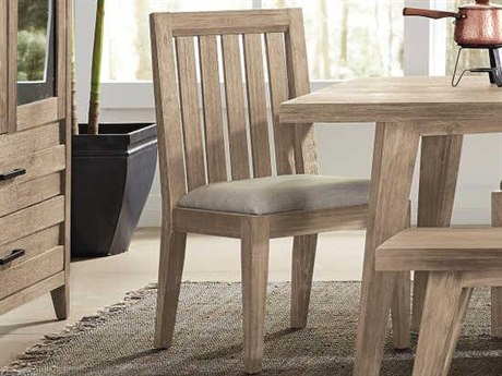 Palliser Case Goods Casablanca Weathered Acacia / Almond Fabric Slat-Back Dining Side Chair (Sold in 2) CX372120