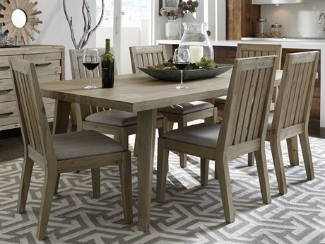 Casana Harbourside Weathered Acacia / Almond Fabric Seven-Piece 86'' x 42'' Rectangular Dining Table and Chair Set CX372150K7P