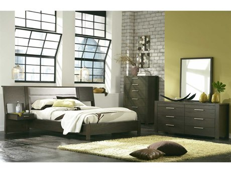 Palliser Case Goods Montreal Platform Bed with Panel Nightstands Bedroom Set
