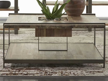 Palliser Case Goods Hamlin Weathered Acacia / Natural Steel 38'' Square Cocktail Table CX830060