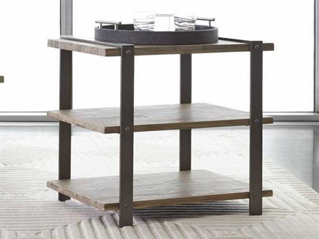 Palliser Case Goods Hamlin Scrap Metal & Weathered Acacia 27'' x 20'' Rectangular End Table CX830030