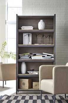 Palliser Case Goods Sliding Natural Acacia / Textured Slate Bookcase with Five Compartments