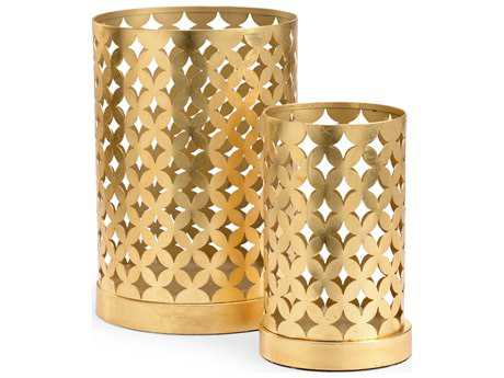 Chelsea House Pair Harper Hurriances Antique Gold Leaf Candle Holder