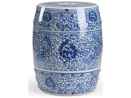 Chelsea House Blue / White Glaze Ceramic Accent Stool