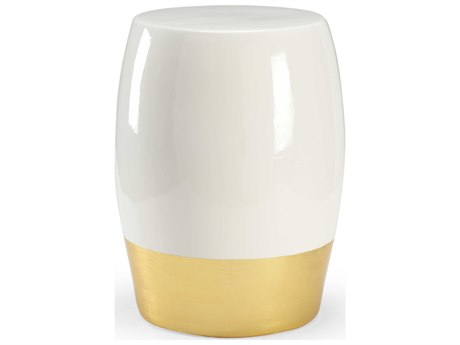 Chelsea House White Glaze / Gold Leaf Accent Stool