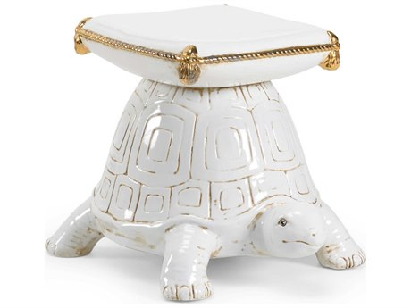 Chelsea House Antique White / Metallic Gold Glaze Accent Stool