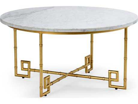 Chelsea House Bamboo Gold Leaf with White Marble 36'' Wide Round Cocktail Table CH382741