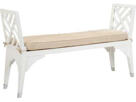 Chelsea House Bolton White with Natural Linen Accent Bench CH383310