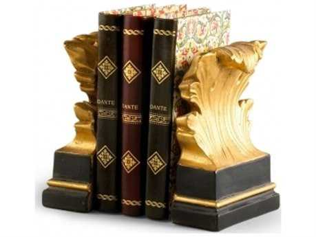 Chelsea House Acanthus Leaf Black And Gold Book Ends CH380548