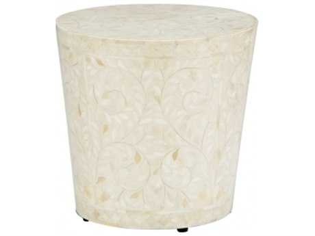 Chelsea House Drum 16.5'' Round White Drum Table CH383005