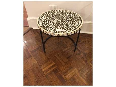 Chelsea House McHenry 18'' Round Black and White End Table CH383018