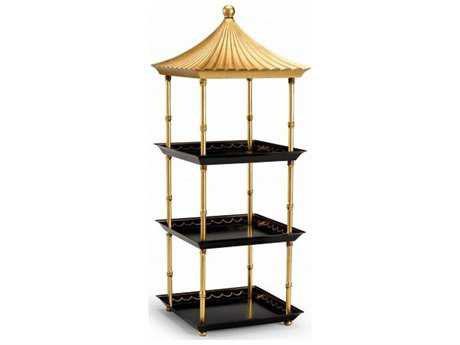 Chelsea House Pagoda Black and Gold Shelf Stand Rack CH382553
