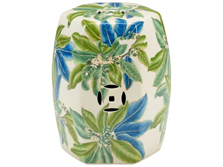 Chelsea House Floral Green and Blue Garden Stool CH383369