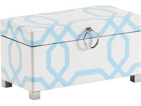 Chelsea House Wood Small White And Blue Accent Box CH382072