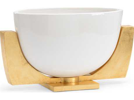 Chelsea House Lander White with Antique Gold Leaf Bowl CH383157