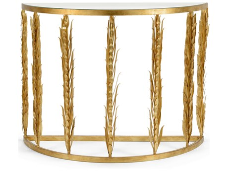 Chelsea House Laurel Antique Gold Leaf 45.5'' x 18.5'' Demilune Console Table CH383190