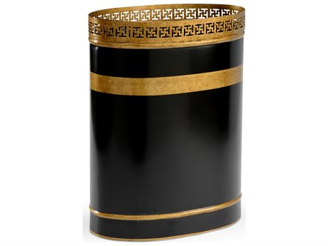 Chelsea House Robbins Black & Antique Gold Wastebasket CH383464