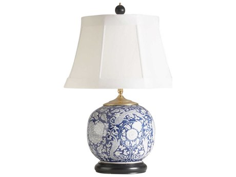 Chelsea House Scrimshaw Blue and White Porcelain Table Lamp CH68113