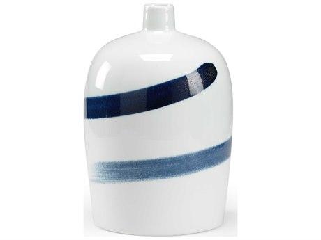 Chelsea House Cobalt / White Glaze 10'' Wide Vase
