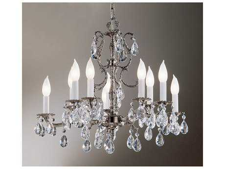 Classic Lighting Corporation Barcelona Millennium Silver Ten-Light 22 Wide Mini Chandelier