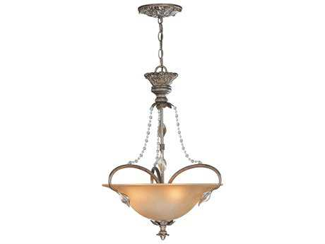 Classic Lighting Corporation Belleair Bronze & Silver Three-Light Pendant Light C83773BZS