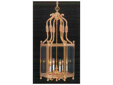 Classic Lighting Corporation Burlington Polished Brass Six-Light Pendant Light C87956
