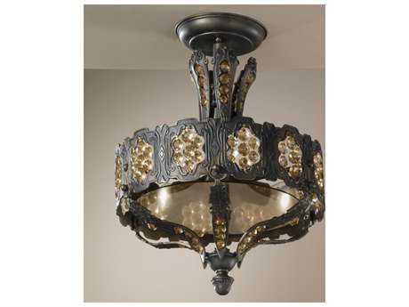 Classic Lighting Corporation Castillio de Bronce Aged Bronze Three-Light Semi-Flush Mount Light C857330AGBAI