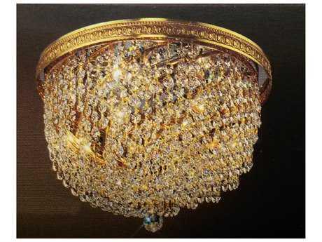 Classic Lighting Corporation Crystal Baskets Olde World Bronze Three-Light Flush Mount Light C851414CP