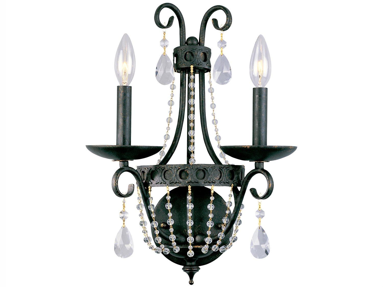 Image of: Classic Lighting Corporation Elegante Ashen Bronze 2 Light Crystal Wall Sconce C881002asb