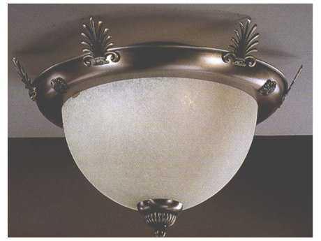 Classic Lighting Corporation French Horn Antique Bronze Two-Light Flush Mount Light C87723
