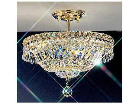 Classic Lighting Corporation Princess 24k Gold Plate Three-Light Semi-Flush Mount Light C81881GCP