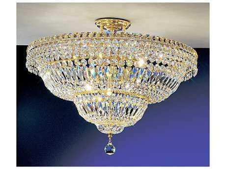 Classic Lighting Corporation Princess 24k Gold Plate Nine-Light Semi-Flush Mount Light C81883GCP