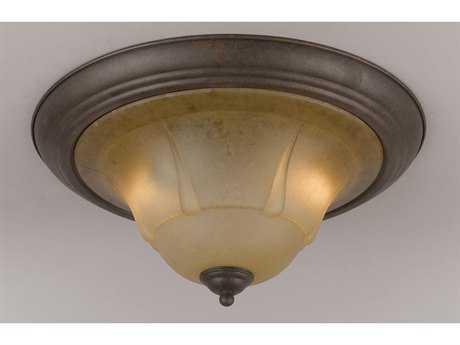 Classic Lighting Corporation Providence Rustic Bronze Two-Light Flush Mount Light C869620RSBTCG
