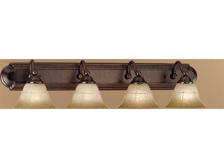 Classic Lighting Corporation Providence Rustic Bronze Four-Light Vanity Light C869634RSBTCG