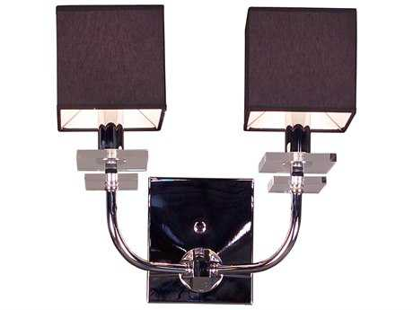 Classic Lighting Corporation Quadrille Black Two-Light Wall Sconce C81932BLK