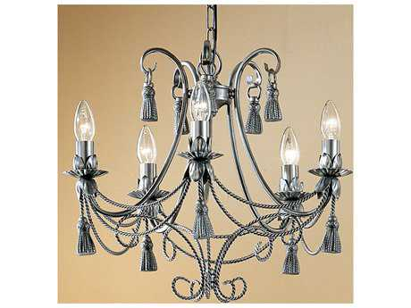 Classic Lighting Corporation Rope and Tassel Pewter Five-Light 20 Wide Mini Chandelier